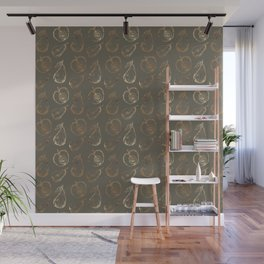Fruity mauve green faux gold sweetie pattern Wall Mural