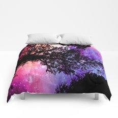 Black Trees Pink Purple Space Comforters
