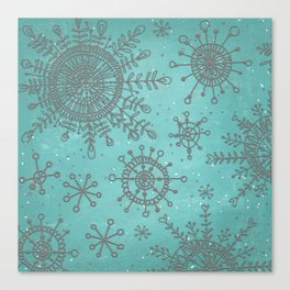 Blue and Silver Snowflakes Canvas Print