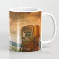 pocket fuel Mugs featuring old fuel pump by Cenk Cansever