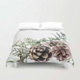 Christmas Pine Bouquet, Watercolor Floral Prints Duvet Cover