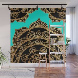 Gold Lace on Turquoise Wall Mural
