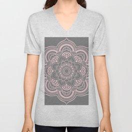 Mandala Flower Gray & Ballet Pink Unisex V-Neck