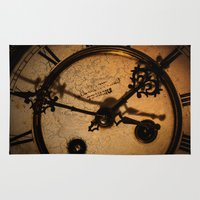 wall clock Area & Throw Rugs featuring The Clock The Time  by Eduard Leasa Photography