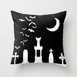 The Graveyard By Moonlight Throw Pillow