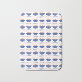 Asian Food Soup Bowl Vector Pattern Bath Mat