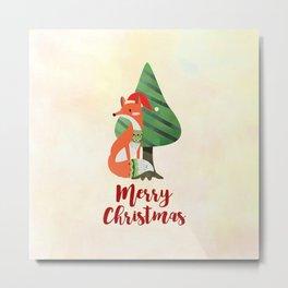 Fox in Santa Hat Merry Christmas Metal Print