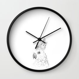 Sulphur Crested Cockatoo - Black and White Portrait Wall Clock