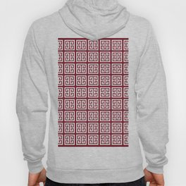 Burgundy Red Greek Key Pattern Hoody