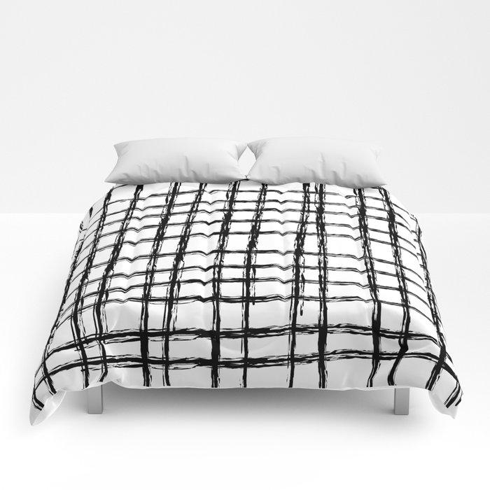 Grid Pattern Black White Hand Drawn Scandinavian Design
