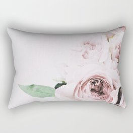 Flowers, Roses, Leaves, Plant, Green, Scandinavian, Minimal, Modern, Wall art Rectangular Pillow