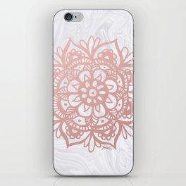 Rose Gold Mandalas on Marble iPhone Skin
