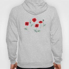 Red poppy flower pattern Hoody