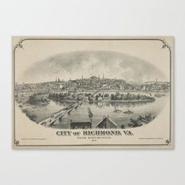 Vintage Pictorial Map of Richmond VA (1876) Canvas Print