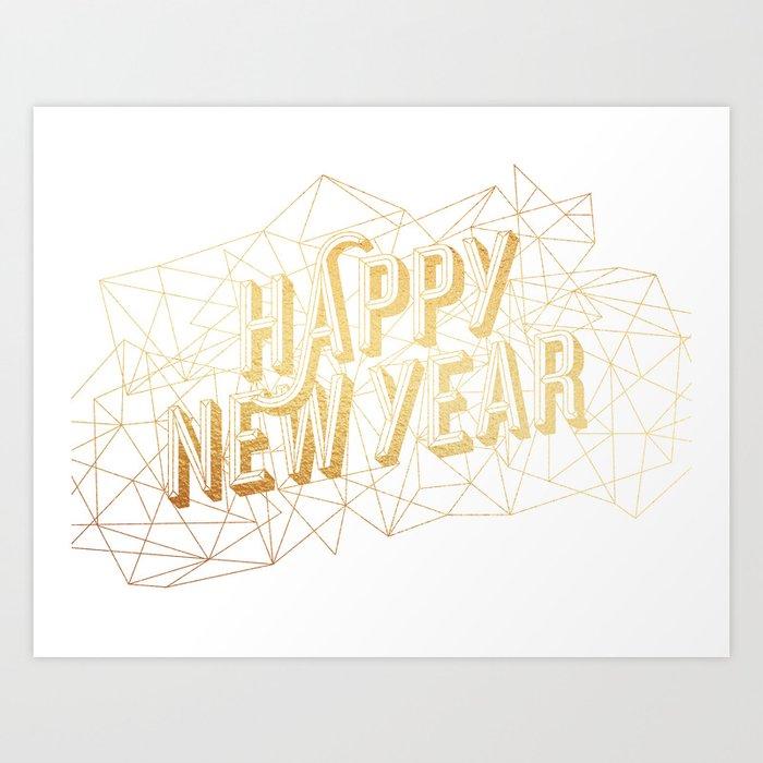 Happy New Year – White Art Print