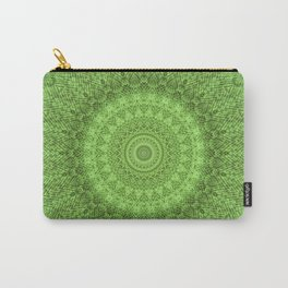 Sunflower Feather Bohemian Leaf Pattern \\ Aesthetic Vintage \\ Green Teal Aqua Color Scheme Carry-All Pouch