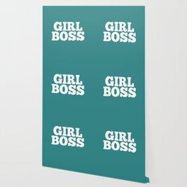 Girl Boss - Aqua and White Wallpaper