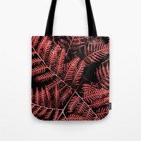 burgundy Tote Bags featuring Burgundy Bracken by Moonshine Paradise