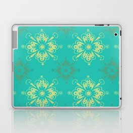 Ornamental Geometric in Turquoise and Gold Metallic Look Laptop & iPad Skin