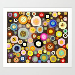 The incident - Circles pale vintage cross Art Print