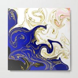 blue ,gold,rose,black,golden fractal, vibrations, circles modern pattern, Metal Print