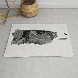 Black and White Art Puerto Rico Map Rug