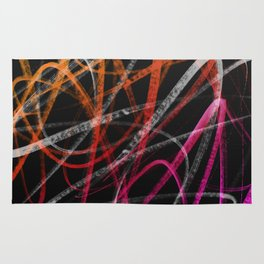 Expressive Red Orange and Magenta Lines Abstract Rug