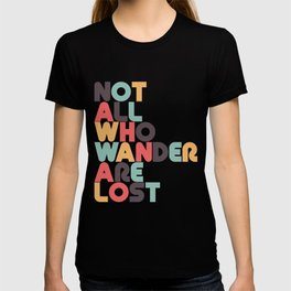 Retro Not All Who Wander Are Lost Typography T-shirt