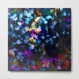 Sea of Celestial Jellyfish Metal Print