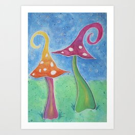 Whimsical Watercolour Mushrooms Art Print