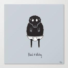 Black in Whitey Canvas Print