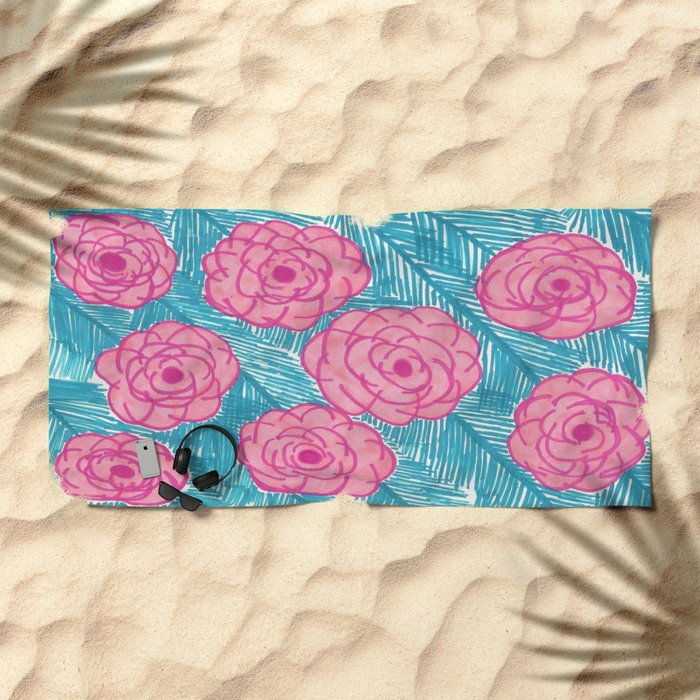 Tropical Palm Leaves and Roses Print Beach Towel
