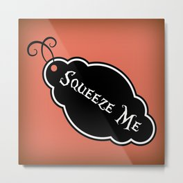 """""""Squeeze Me"""" Alice in Wonderland styled Bottle Tag Design in 'Mad Hatter Melon' Metal Print"""