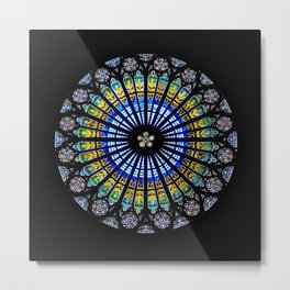 Stained Glass Rose Window Strasbourg Cathedral, France Metal Print