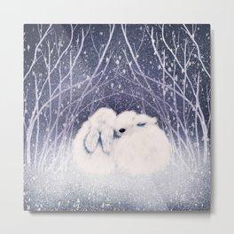 Winter Bunnies Metal Print