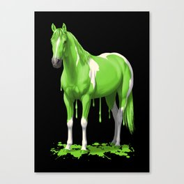 Neon Green Wet Paint Horse Canvas Print