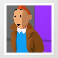 tintin Art Prints featuring Tintin, the young reporter by DocPastor