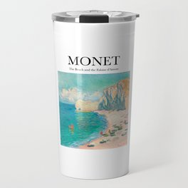 Monet - The Beach and the Falaise d'Amont Travel Mug