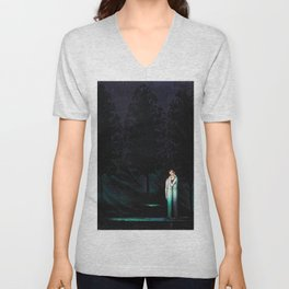 The Kiss of Consolation, Mother and Daughter Portrait Painting by Boleslas Biegas Unisex V-Neck