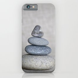 Balanced pebble stack with heart on top iPhone Case