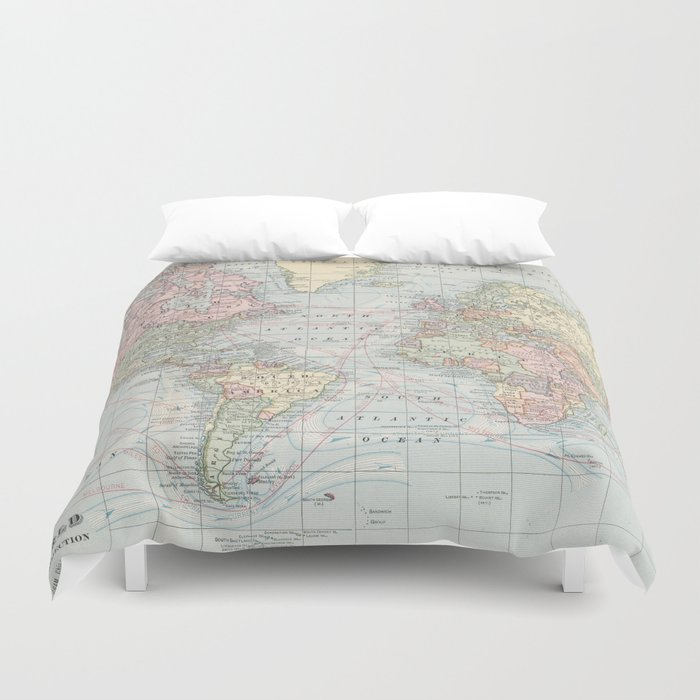 Vintage world map 1901 duvet cover by bravuramedia society6 vintage world map 1901 duvet cover gumiabroncs