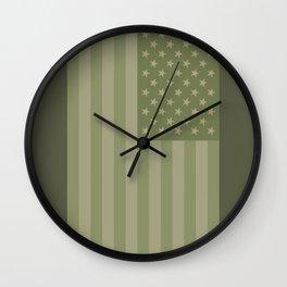Camo Stars and Stripes – USA Flag in Military Camouflage Colors [FalseFlag 1] Wall Clock