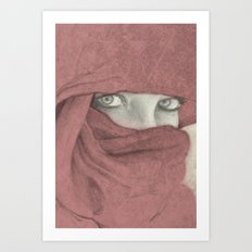 Woman with red shawl intense eyes Art Print