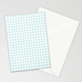 Small Diamonds - White and Light Cyan Stationery Cards