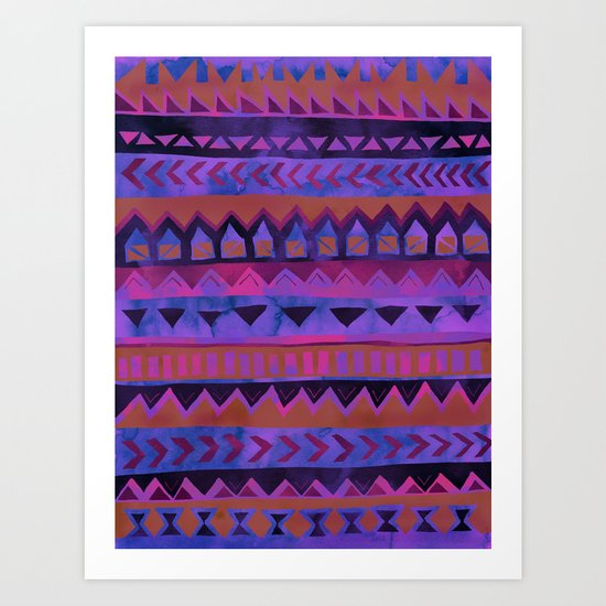 PATTERN {Tribal Stripe- Purple} Art Print