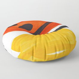 Midcentury Modern Colorful Abstract Pop Art Space Age Fun Bright Orange Yellow Colors Minimalist Floor Pillow