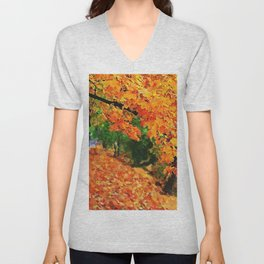Massachusetts - Autumn Colors Unisex V-Neck