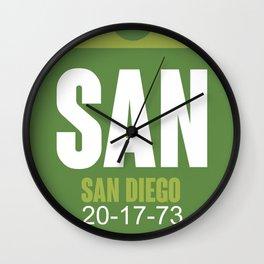SAN San Diego Luggage Tag 2 Wall Clock