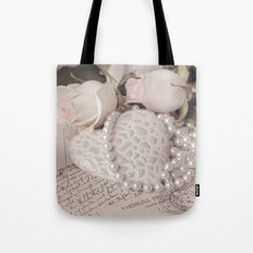 Soft Pink Nostalgic Rose and Heart Still Tote Bag