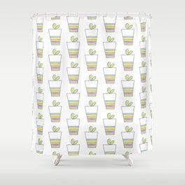 Lovely Plant and Striped Pot Shower Curtain